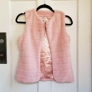 Beautees Pink Faux Fur Open Front Vest Sz XL